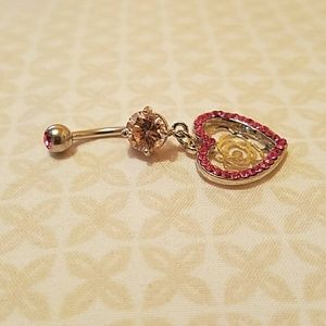 Jewelry - 9. NEW! SURROUNDING MULTI PAVED HEART BELLY RING
