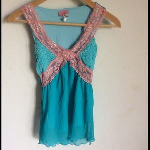 Tops - Turquoise & Pink Top