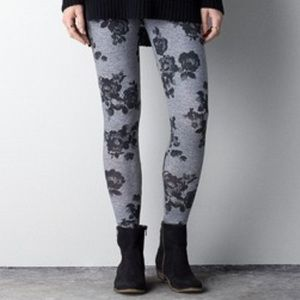 Grey & Black Rose Legging