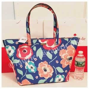 New Kate Spade multicolor floral large zip tote