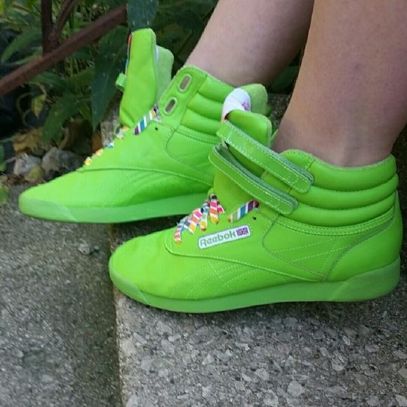 545802c4c0d Neon Green Reebok Freestyle Hi Tops. M 5776f2677fab3a5b65014bf9