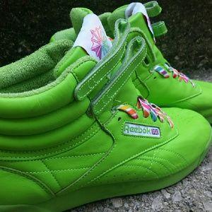 7c036eb2a43 Reebok Shoes - Neon Green Reebok Freestyle Hi Tops