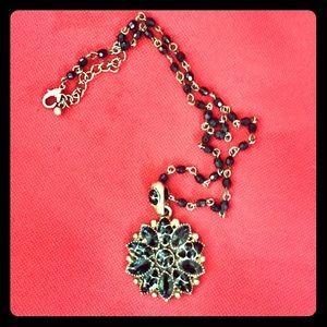 Black Flower Pendent Necklace