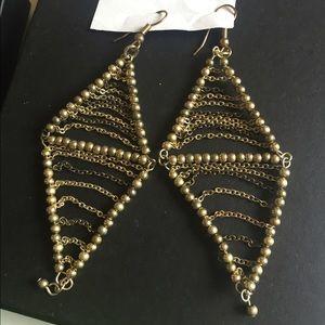 Gold diamond shaped earrings