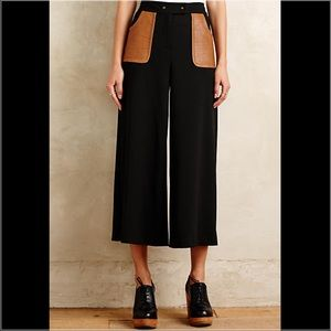 Anthropologie Pants - Leather Pocket Culottes