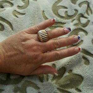 Steel by Design~Rose & Stainless Striped Dome Ring