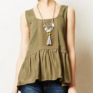 Anthropologie crochet peplum tank top