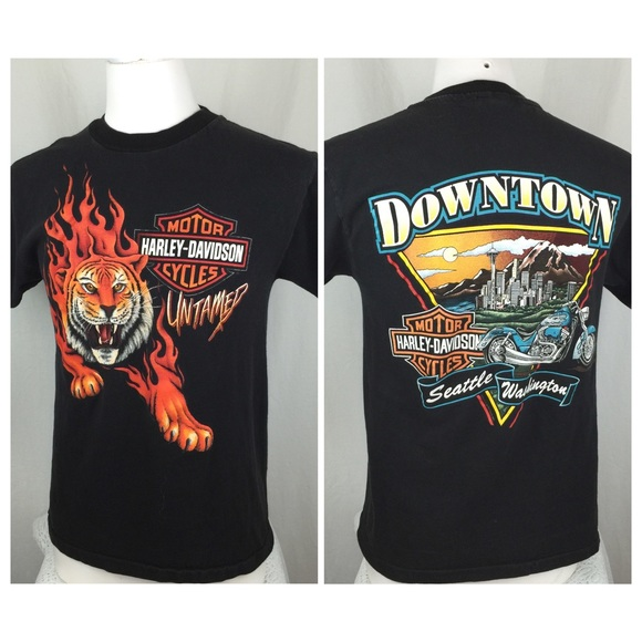 Harley Davidson Seattle >> Vintage Harley Davidson Downtown Seattle Tiger Tee
