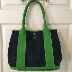  J. Crew Blue Green Canvas Tote Boat Bag
