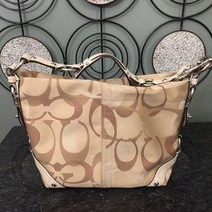 Coach tan brown signature optic handbag purse