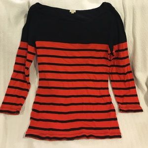J. Crew Striped Boat Neck Tee Size Small
