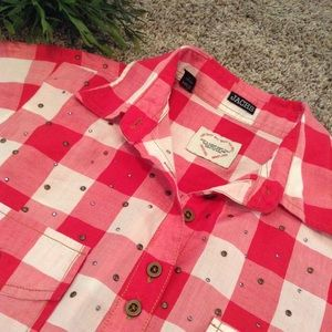 JACHS Tops - Red gingham blouse with metal detail