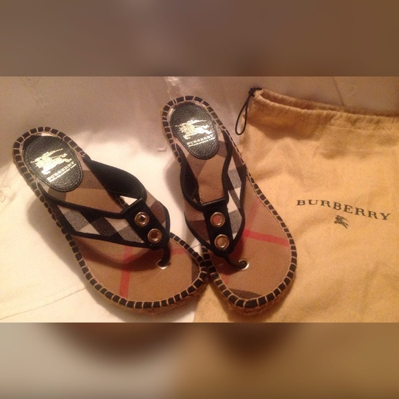372be7f820e Burberry Shoes - Authentic Burberry Espadrilles wedge thong Sandals
