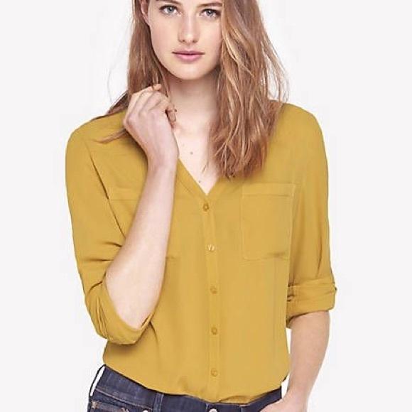 61de511c32613 Express Tops - EXPRESS Mustard Yellow Portofino Shirt