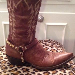 Boots - Leather and Chain Embellished Boot Cuff