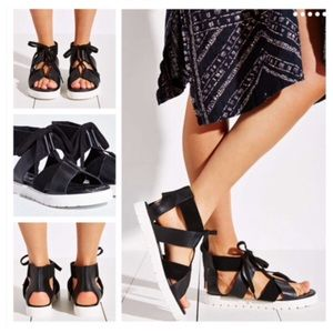 "Kelsi Dagger Shoes - Kelsi Dagger Black Leather ""Dance"" Sandals"