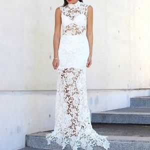 LACE DRESS Floral Embroidered Maxi Bohemian Gown