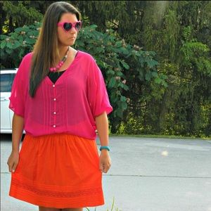 Hot Pink Oversized Sheer Top