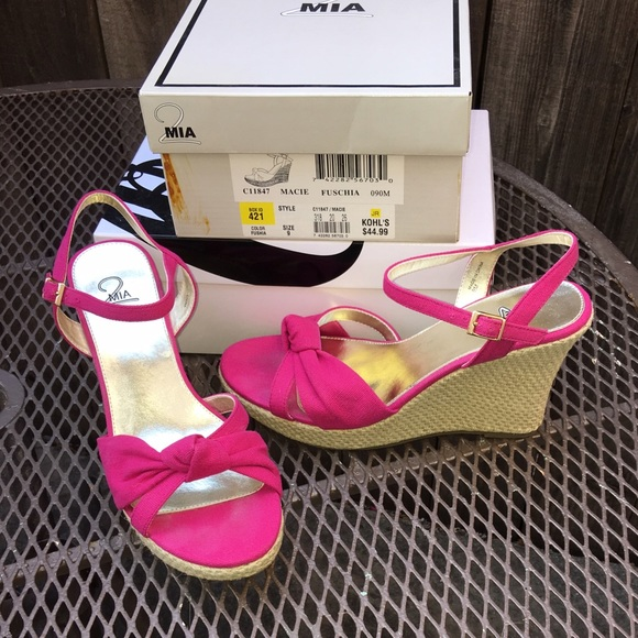 cdceeb9b75 Kohl's Shoes   Fuchsia Jute Wedge Sandals   Poshmark