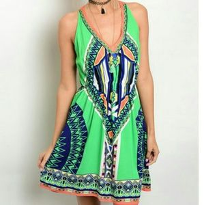 NWOT green and navy geometric A-line dress