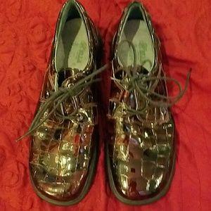 Helle Romu's Shoes - Hellen Romu's Brown Patent Lace-Ups, sz 39