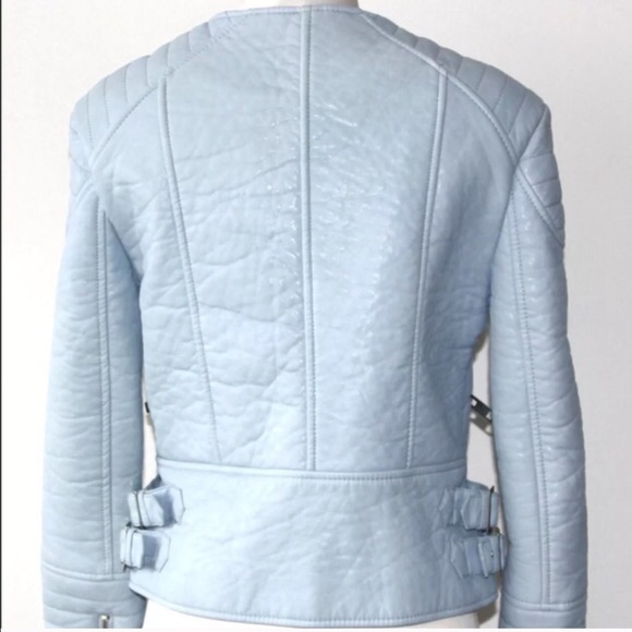 Light Blue This jacket makes me believe at love at first sight. I had been dreaming of a light blue leather jacket for quite a while and couldn't believe my eyes when I found this powder blue beauty hanging on the racks of my local Zara store, and it seems like this is the case for most people gauging the reaction from this Instagram picture.