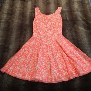 Guess Neon Orange Lace Open Back Skater Dress