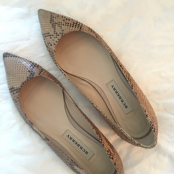 2a4859a81b4 Burberry Shoes - Burberry taupe snakeskin pointy toe flats.