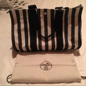 Hermes Handbags - ✨Hermes Black/Cream Stripe Canvas Overnight Bag✨