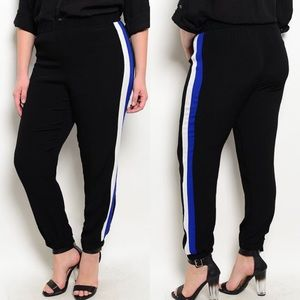Plus Size Black w/ Side Stripes Jogger Pants