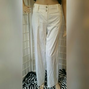 White House Black Market Pants - Nwt White wide leg pants with silver accent