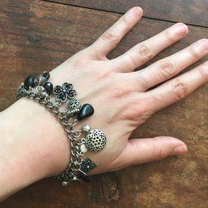 New Silver and Black charm bracelet