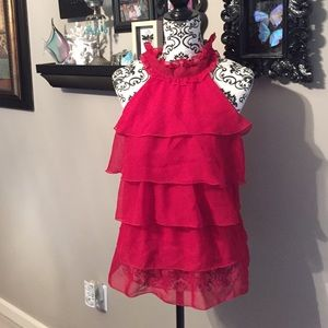 Red tiered ruffle blouse