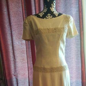 Vintage beige linen dress