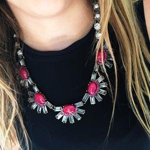 New York & Company Jewelry - NWT NY&Co Dark Pink Flower Statement Necklace