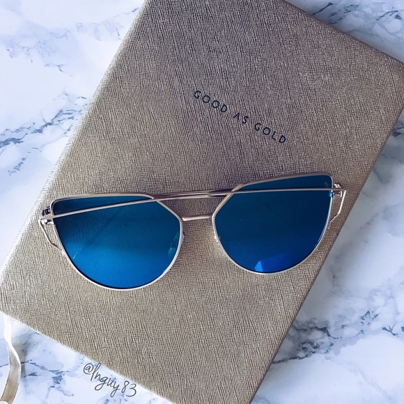248b5f3805d6 Accessories | Hpblue And Gold Cat Eye Mirrored Sunglasses | Poshmark