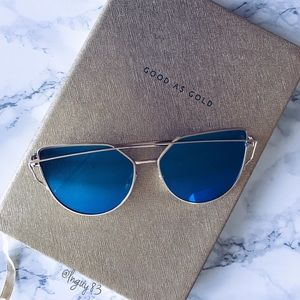 Accessories - 💕HP💕Blue and Gold Cat Eye Mirrored Sunglasses 💙