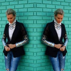 Jackets & Blazers - Black jacket w/sequined sleeves.