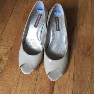 Adrienne Vittadini Shoes - Adrienne Vittadini nude patent peep toe wedge