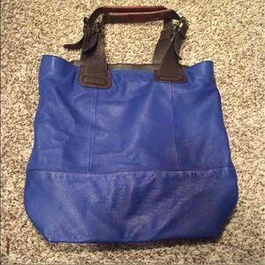 Steve Madden blue soft leather tote