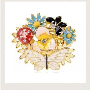 Jewelry - Swarovski Ladybug Adjustable Flower Enamel Ring