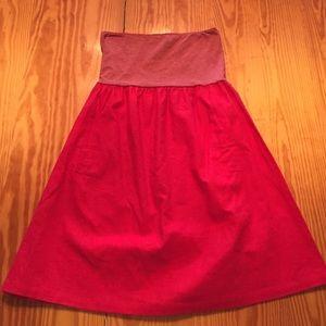 Dresses & Skirts - Red strapless linen dress