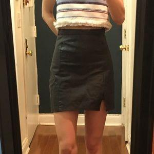 Reformation, black leather mini skirt