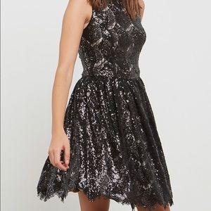 BB Dakota Sabrina Fit & Flare Sequin Lace Dress