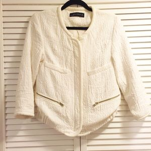 Zara white zipper jacket