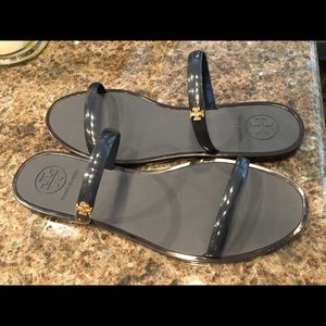 8f7cabe99255 Tory Burch Shoes - Tory Burch Two-Band Jelly Slides Navy Size 7
