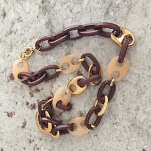 J.Crew Brown and Gold Link Necklace