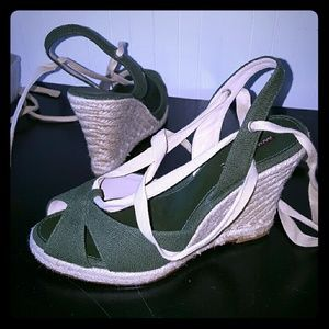 Reduced↘BR army green lace up espadrilles