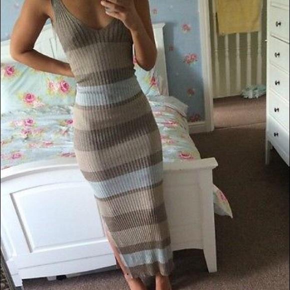 3c8b9cdd449f Zara Dresses | Nwt Striped Knit Ribbed Maxi Dress W Slip | Poshmark