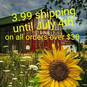 3.99 SHIPPING UNTIL JULY 4TH ALL ORDERS OVER $30